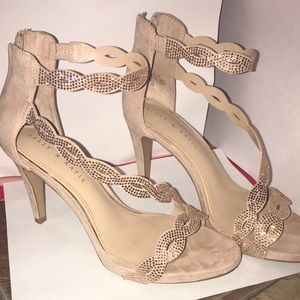 Sparkly ankle strap occasion heels!